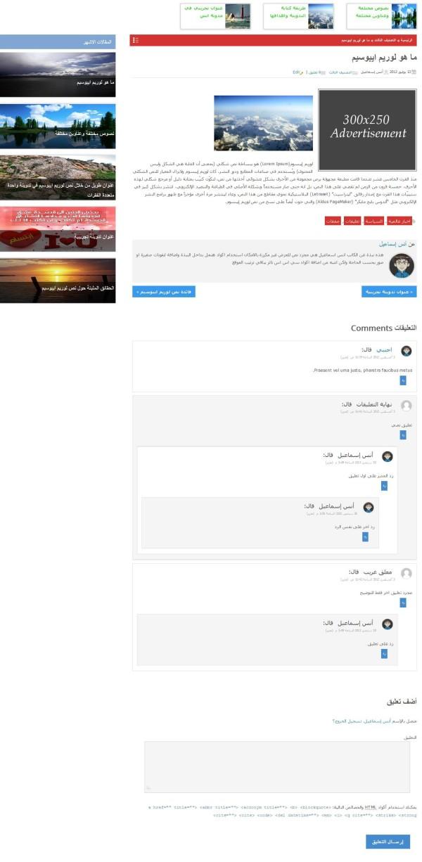 الصفحة المفردة والتعليقات